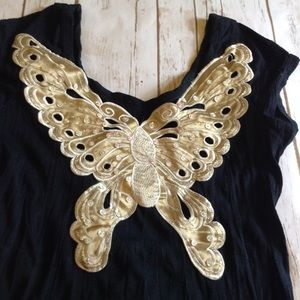 VTG Black Top Gold Butterfly Embroidered T-Shirt